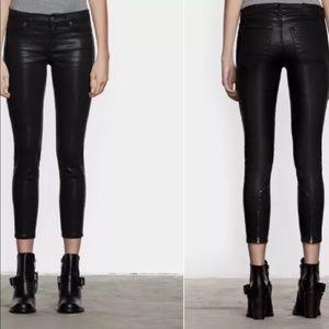 All Saints Brodie Coated Skinny Crop Black Jeans